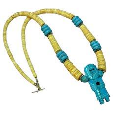 Native American Indian Turquoise Kachina and Shell Heshi Heishe Necklace