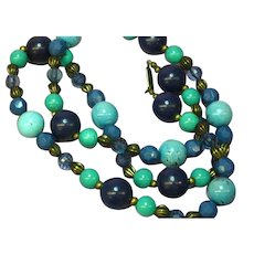 Miriam Haskell Signed Lucite Lapis Faux Turquoise Necklace
