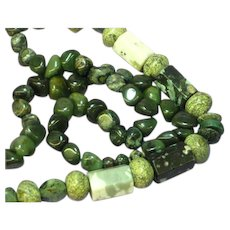 Jade Carved Green Moss Agate  Beads Necklace
