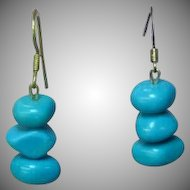 Turquoise Dyed Howlite Sterling Silver Chunk Bead Dangle Pierced Earrings