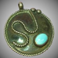 Native American Indian Sleeping Beauty Turquoise Sterling Silver Large Necklace Pendant