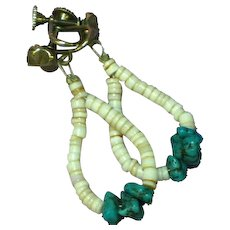 Native American Indian Navajo/Pueblo Turquoise Shell Heshi Earrings