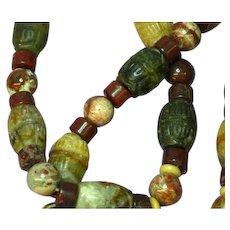 Red Poppy Jasper Indian Agate Carved Barrel Transvaal Jade Beaded Necklace