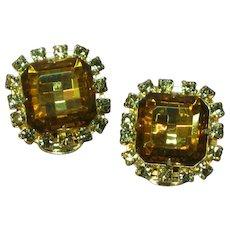 Sensational Large Square Cut Topaz Black Diamond Crystal Rhinestone Clip Earrings