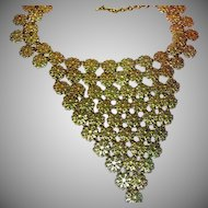 Vendome Signed Big Lacy Gold Daisy Filigree Bib Necklace
