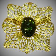 Coro Filigree Gold tone Art Glass Pin Brooch