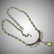 Bogoff Designer Signed Heavy Rhodium Plate Amethyst Rhinestones Pearl Drop Necklace