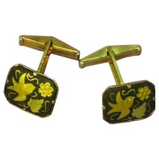 Amita Japan Damascene  Black and Gold Birds Leaves Flowers Cufflinks