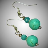 Turquoise & Faceted Amazonite Bead Sterling Silver Dangle Pierced Earrings
