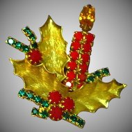 Christmas Rhinestones Candle  Figural Holly Brooch Pin