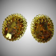 Austrian Signed Shimmering Topaz Art Glass Clip Earrings