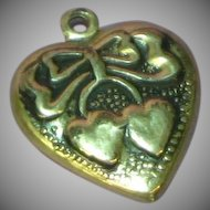 Puffy Heart Sterling Repousse Heart Charm Double Heart and Bows