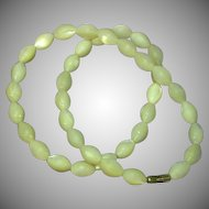 Mother of Pearl Magnificent Vintage MOP Hand Carved Oval Beads Highly Iridescent Necklace
