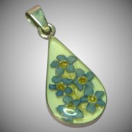 Straw Flowers Embedded in Lucite Sterling Silver Pendant