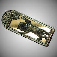 Cat in the Mirror Heavy Rhodium Silver Tone Brooch Pin