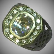 Mans Sterling Silver Gents Unisex Crystal Ornate Ring