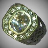 Mans Sterling Silver Gents Unisex Crystal Ornate Ring