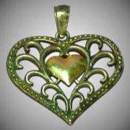 14K Gold Sterling Silver Filigree Fancy Heart Charm Pendant