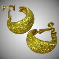 Goldette Crushed Gold Oval Hoop Clip Earrings