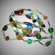 Murano Italian Art Glass Crystal Long Bead Double Strand Necklace