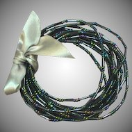 Peacock Blue/Green Seed Bead Set of 12 Bracelets