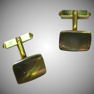 Gold Plate Golden Brown Mother of Pearl Cufflinks Cuff Links