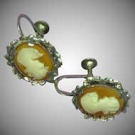 Cameo Screw Back Shell Cameo Earrings