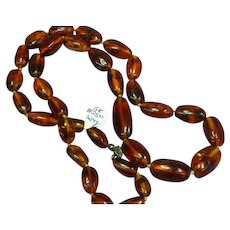 Amber Genuine Natural Cherry Beaded Hand Knotted Single Strand Necklace