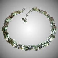 Trifari Bright Silver Link Choker Necklace