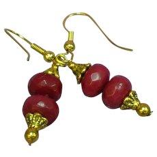 Gemstones Stunning Natural Brazilian Faceted Ruby Rondelle Bead Dangle Pierced Earrings