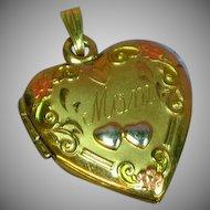10K Rose Gold Flowers Embellished Gold Filled Heart Locket Pendant