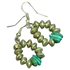 Native American Sterling Silver Turquoise Dangle Drop Pierced Earrings