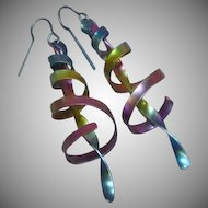 Niobium Rainbow of Color Large Funky Pierced Earrings