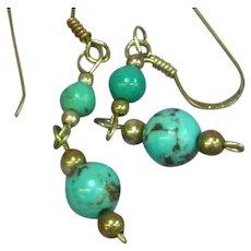 Sterling Silver Turquoise Dangle Petite Pierced Earrings
