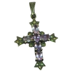 Sterling Silver Cross  Genuine Amethyst  Marcasite Stones Necklace Pendant