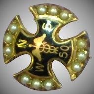 10K Gold  Seed Pearl Enamel Nurse Doctor Fraternity Pin