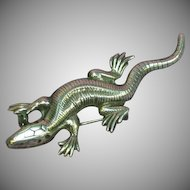 Beautiful Signed Lang Sterling Silver Figural Lizard Skink Brooch Pin