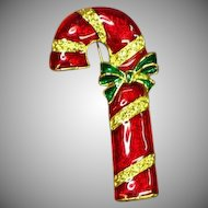 Christmas Vintage Red Enamel Candy Cane Pin Brooch