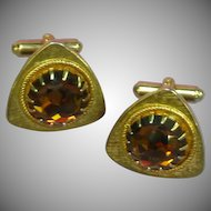 Cufflinks Large Golden Multi Faceted Rhinestones Gold tone Cuff Links