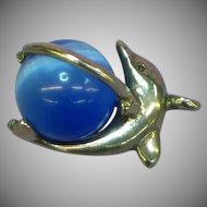 Dolphin Figural Cats Eye Stone Charm Pendant