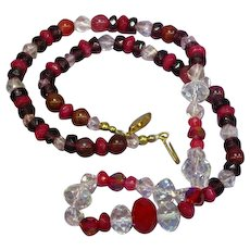 Faceted Pink German Crystal Red Ruby Purple Faceted Rondell  Necklace