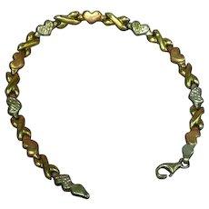 Turkey Marked PGDA 925 10K Rose Gold Hearts Bracelet