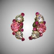 Weiss Pink Lavender Large Rhinestone Clip-on Earrings