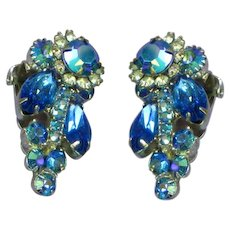 Juliana D&E Book Piece Dark Blue and A/B Rhinestone Clip Earrings