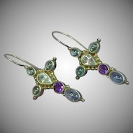 Sajen Retired Cross with Genuine Stones Amethyst Sapphire Topaz Labradorite Sterling Silver Large Incredible Pierced Earrings