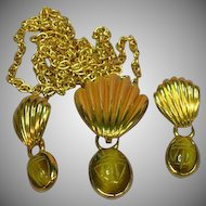 Egyptian Revival Semi Precious Stone Tiger Eye Scarab Beetle Necklace Earrings Set Demi Parure