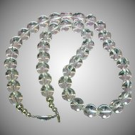 Pools of Light Genuine Drilled Rock Crystal Round Beads Sterling Silver Necklace