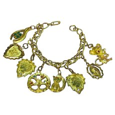 Vintage All Original Gold Plate Charm Bracelet Double Links Fun Charms