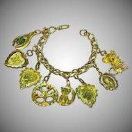 Vintage Gold Plate Charm Bracelet Double Links Fun Charms