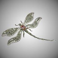 Giant Vintage Sterling Silver Marcasite Dragonfly Figural Brooch / Pin